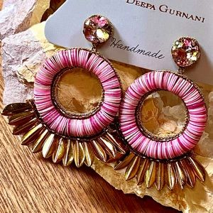 NWT Deepa Gurnani Embroidered Lotus Chandeliers
